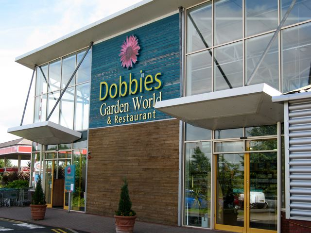 A newer Dobbies garden centre, a typical cathedral to consumerism.