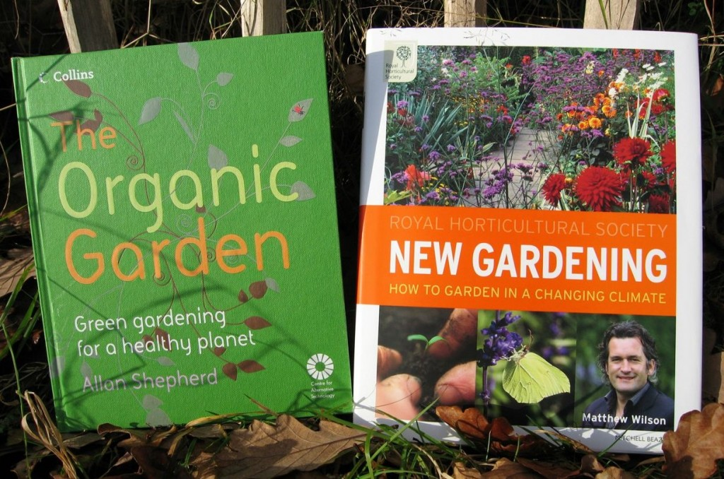 Front covers of The Organic Garden by Allan Shepherd and RHS New Gardening by Matthew Wilson.