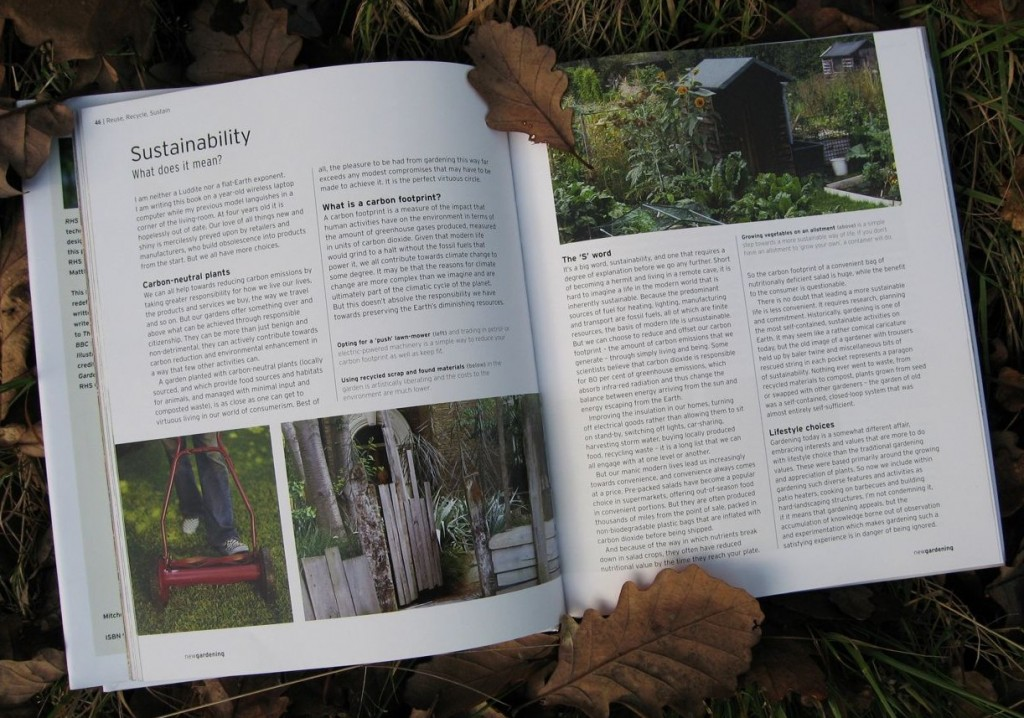 The chapter from RHS New Gardening discussing sustainability.