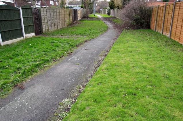 A walkway between individual back gardens. By removing the fences, gardens could be linked up with social and ecological benefits.