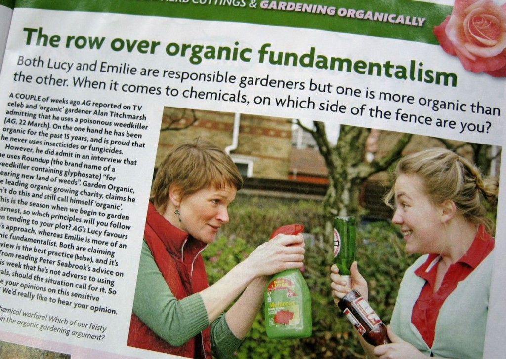 An editorial in Amateur Gardening magazine which attempts to manufacture a false impression that organic gardeners are 'fundamentalist'.