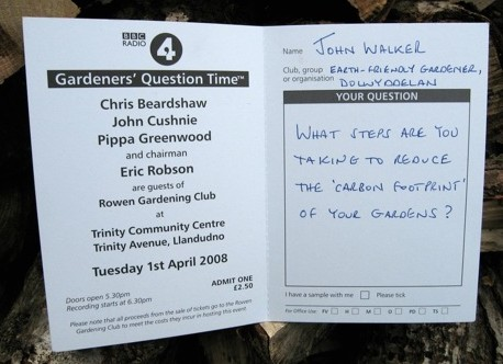 One of the cards the audience attending a BBC Radio Gardeners' Question Time recording are invited to fill in (I wasn't 'lucky' enough to be chosen).