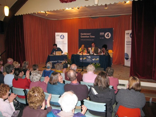 Chairman Erica Robson, with Bunny Guinness, [the late] John Cushnie and Pippa Greenwood recording BBC Radio 4's Gardeners' Question Time.