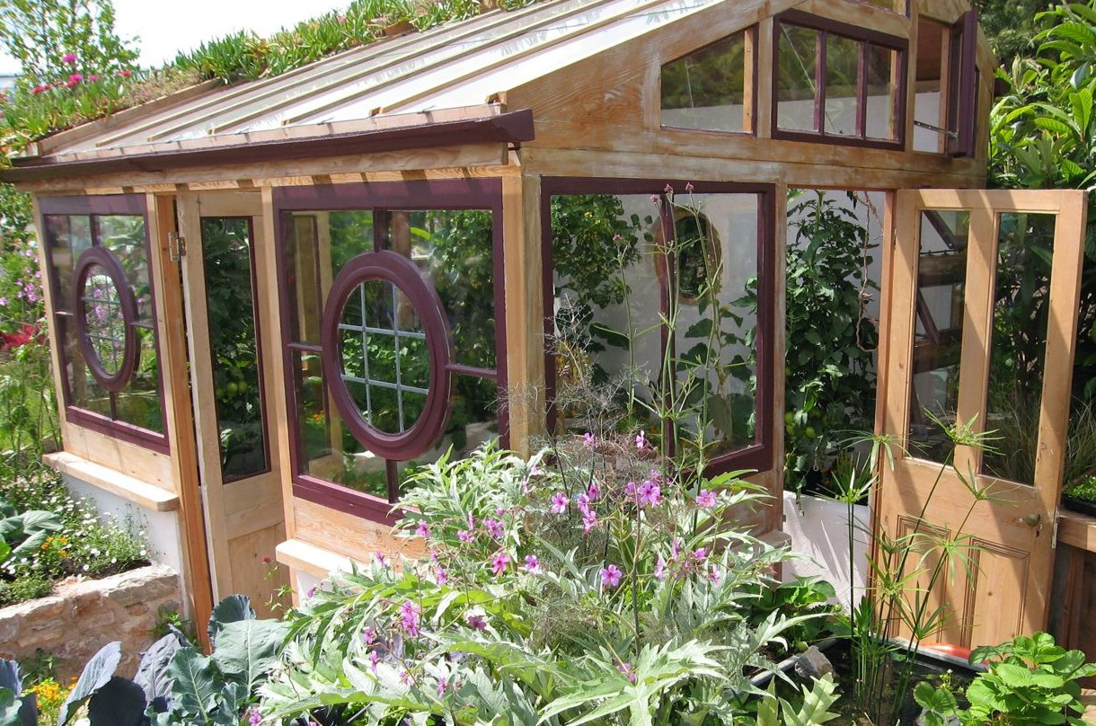 The greenhouse made from reclaimed materials which was the centrepiece of Toby Buckland's 'Ethical Garden' at the 2008 Gardeners' World Live Show.