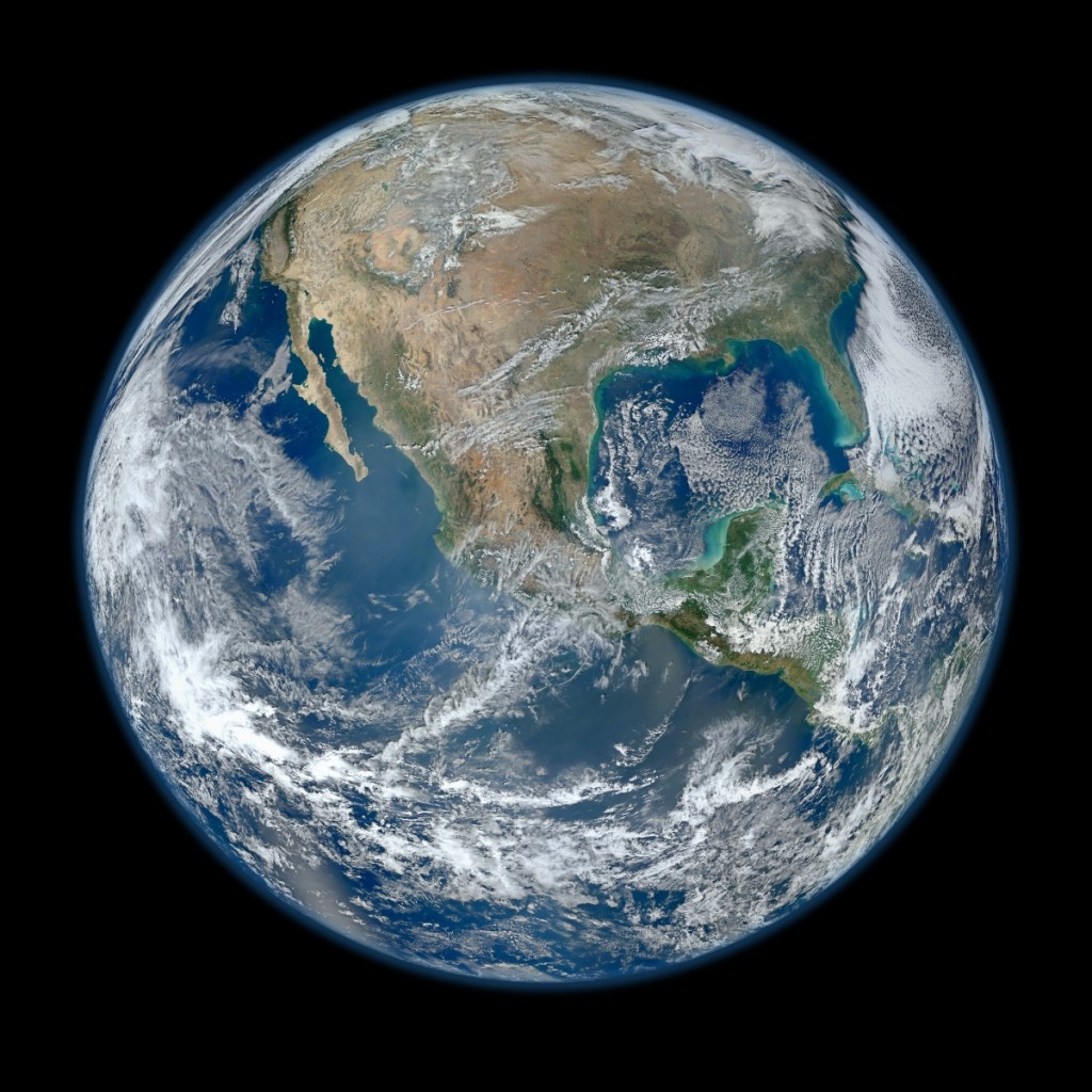 Satellite view of earth, the 'global greenhouse'.