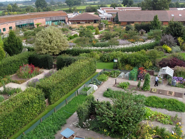 Aerial view of Garden Organic's headquarters at Ryton Organic Gardens, near Coventry in Warwickshire.