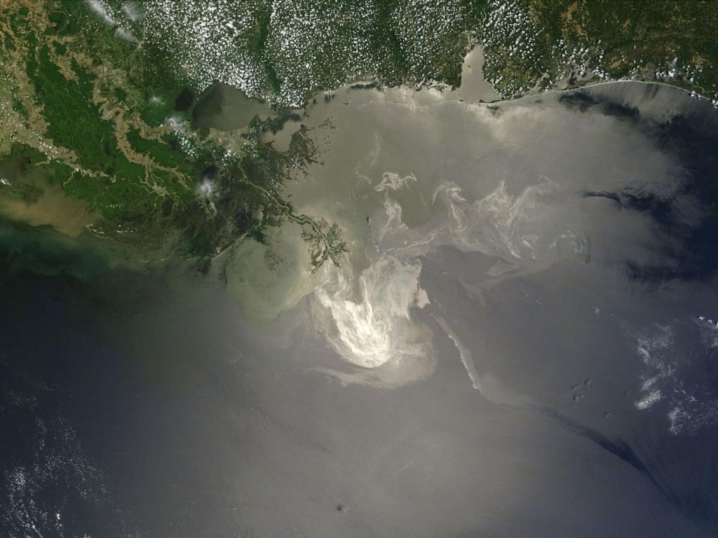 Satellite view of the Deepwater Horizon oil spill in the Gulf of Mexico June 2010