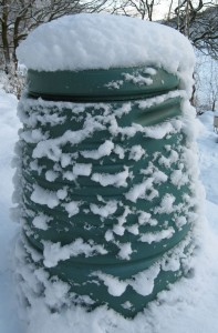 Composting worms will move into a bin like this, made from recycled plastic, but will become less active during winter cold snaps.
