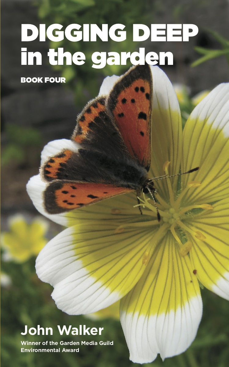 A small copper butterfly lights up the cover of Digging Deep in the Garden: Book Four